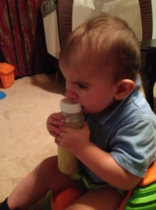 Braxton always reaches out to the bottle when I shake it so I let him hold it and he put it right to his mouth!