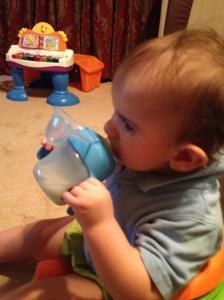 I put a little milk in a sippy cup and let him try it