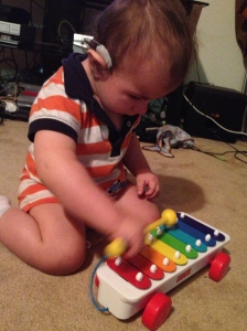 Focused on his Xylophone