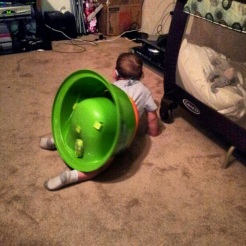 Braxton flipped over while strapped IN his chair...I guess he was telling me he was done eating!
