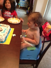 Tried to let him play with his cake, but he was not happy about it :(