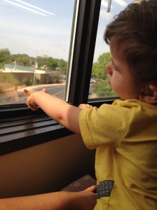 Braxton looking out the window. Check out that pointer finger!