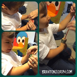 Braxton learning to string beads