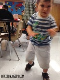 Walking in class all by himself!