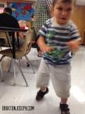 Walking in class all by himself!