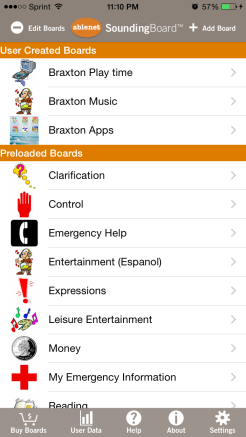 This is the main menu of the app. You can see the user created boards and the preloaded boards.